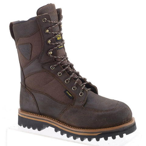AdTec Mens Dark Brown 11in Cordura Insulated Leather Hiking Boots
