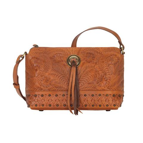 American West Dove Canyon Crossbody Bag Golden Tan Leather