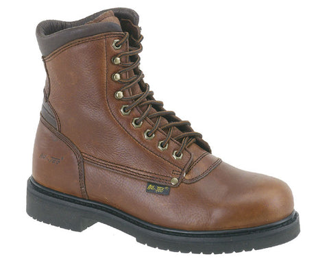 AdTec Mens Brown 8in Work Boot Leather Slip Resistant