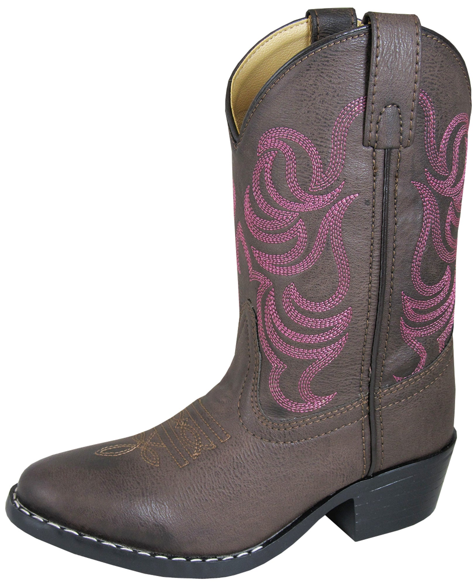 Smoky Mountain Toddler Girls Hopalong Brown//Pink Leather Cowboy Boots