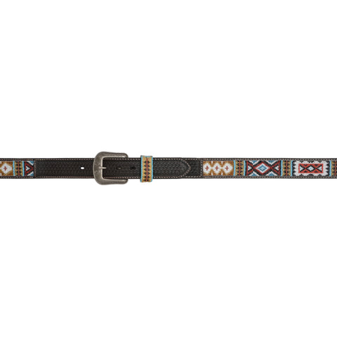 3D Chocolate Leather Mens Belt Aztec Beaded Basketweave 1 1/2in