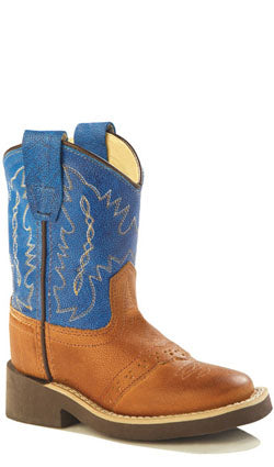 Old West Tan Canyon Toddler Boys Corona Calf Leather Comfort Cowboy Boots