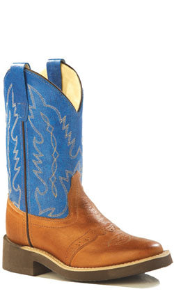 Old West Blue Childrens Boys Canyon Leather Square Toe Cowboy Boots