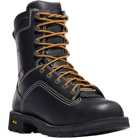 Danner Quarry USA 8in Mens Black Leather Goretex Work Boots 17309