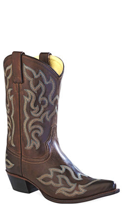 Old West Chocolate Womens Leather 10in Pointed Toe Cowboy Western Boots
