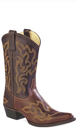 Old West Brown Womens Leather 10in Pointed Toe Cowboy Western Boots