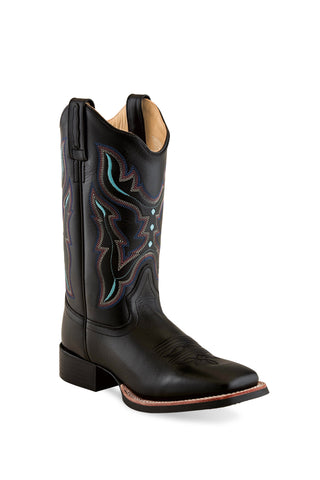Old West Black Womens Leather 11in Scallop Cowboy Boots