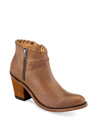 Old West Tan Womens Leather Zip Fashion Boots