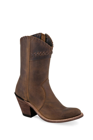Old West Dark Brown Womens Leather Zipper Fashion Boots