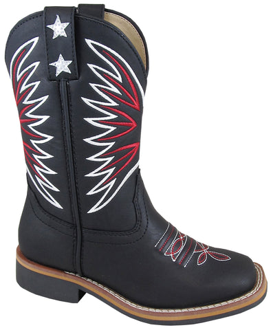 Smoky Mountain Childrens Unisex Falcon Black Faux Leather Cowboy Boots