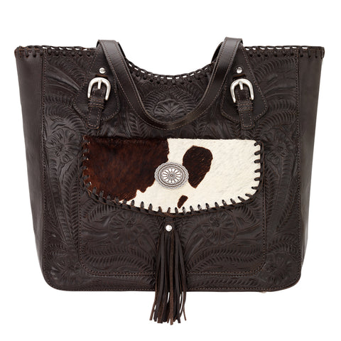 American West Annie's Secret Collection Zip Tote Chocolate Leather Large