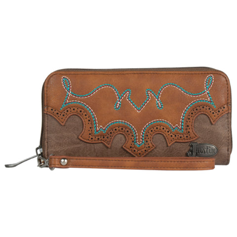 Justin Womens Bootstitch Accordion Tawny Leather Wristlet Wallet 7.5x1x3.75