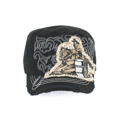 Savana Black 100% Cotton Ladies Black Hat Barrel Racer Stitch
