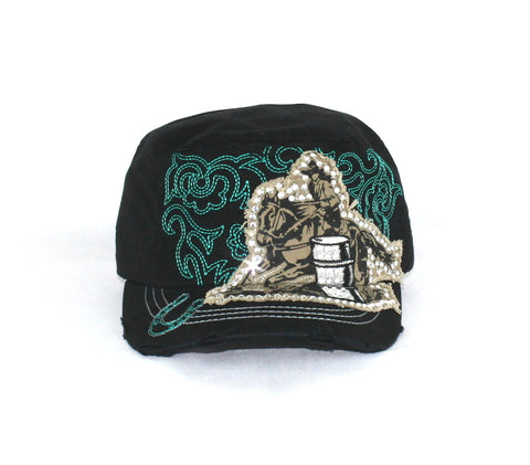 Savana Turquoise 100% Cotton Ladies Turquoise Hat Barrel Racer Stitch