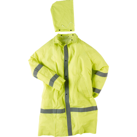 Neese Economy Rain Coat Hi-Viz Lime PVC On Poly Reflective Tape Hood
