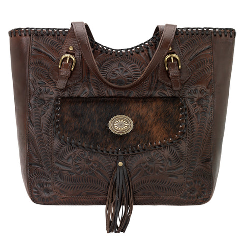 American West Annie's Secret Collection Tote Chestnut Brown Leather Zip