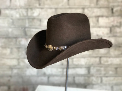 Rockmount Mens Brown Felt Cowboy Concho Magic Pinch Hat