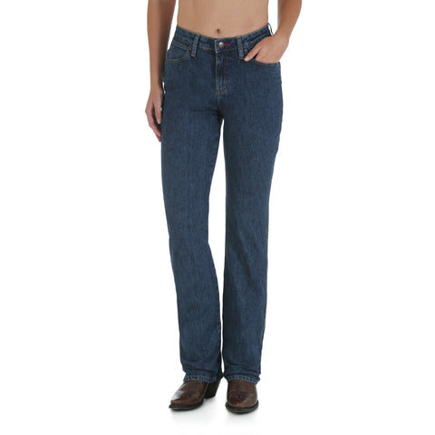 Wrangler Womens Stonewash Cotton Blend Cowboy Cut Tapered Leg Jeans
