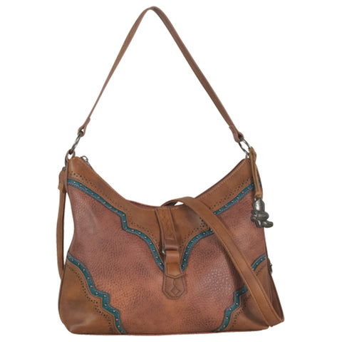 Justin Womens Slouch Cognac Leather Purse 11x4.5x10