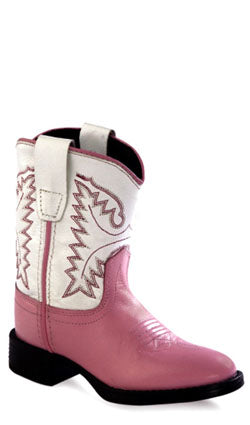 Old West Pink Toddler Girls Leather Comfort Round Toe Cowboy Western Boots