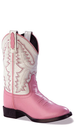 Old West Pink Childrens Girls Leather Ultra Flex Round Toe Cowboy Boots