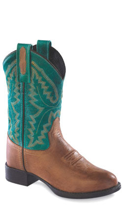 Old West Turquoise Youth Boys Leather Round Toe Cowboy Western Boots