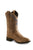 Old West Brown Children Boys Saddle Check Stitch Cowboy Western Boots