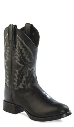 Old West Black Childrens Boys Leather Ultra Flex Round Toe Cowboy Boots