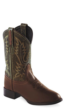 Old West Olive Green Childrens Boys Leather Ultra Flex Cowboy Boots
