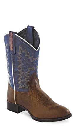Old West Blue Childrens Boys Oily Snuffed Leather Ultra Flex Cowboy Boots