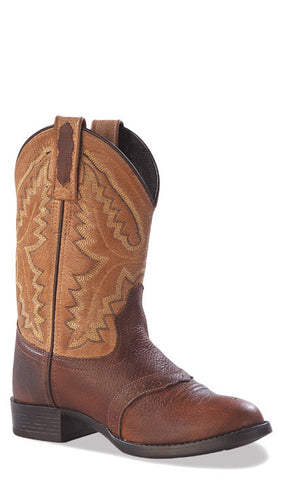 Old West Tan Youth Boys Oiled Rust Leather Round Toe Cowboy Western Boots