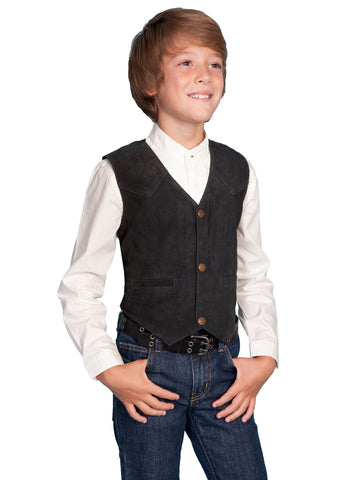 Scully Leather Kids Boys Black Boar Suede Western Vest