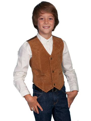 Scully Leather Kids Boys Bourbon Boar Suede Western Vest