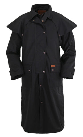 Outback Trading Co. Low Rider Duster Mens Coat Black 100% Cotton Oilskin