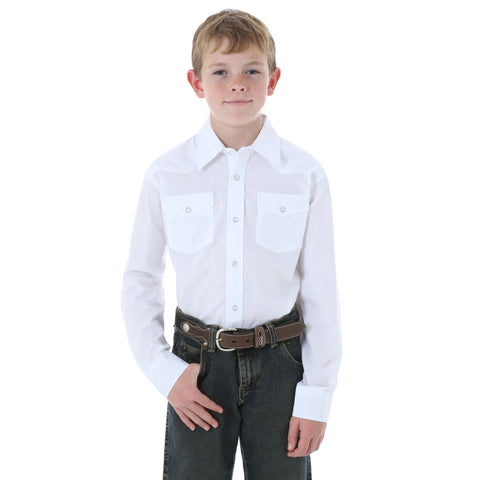 Wrangler White Cotton Blend Boys Sport Western L/S Shirt
