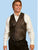 Scully Leather Mens Whip Stitch Leather Lapel Vest Brown Buff
