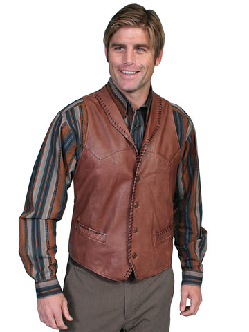 Scully Leather Mens Whip Stitch Leather Lapel Vest Ranch Tan