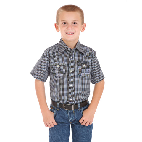 Wrangler Boys Gray/Black Cotton Blend Gingham S/S Shirt