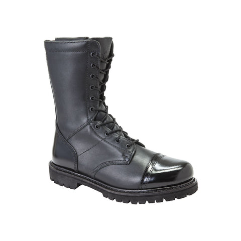 Rocky Mens Black Leather 10in Combat Zipper Jump Duty Boots