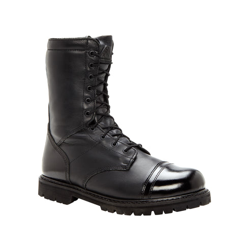 Rocky Mens Black Leather Insulated 10in Waterproof Zipper Jump Boots