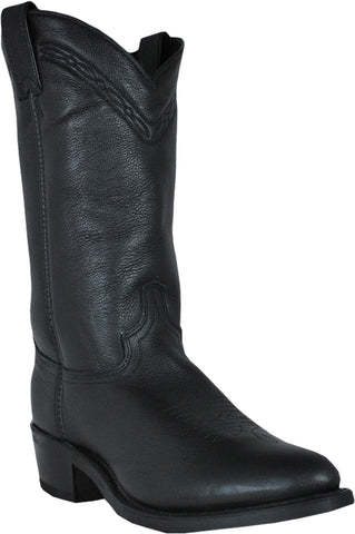 Abilene Mens Black Leather 12in Western Work Cowboy Boots