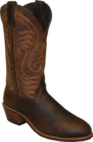 Abilene Mens Brown Distressed Leather 12in USA Cowboy Boots