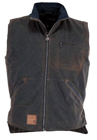 Outback Trading Co. Sawbuck Vest Mens Bronze 100% Cotton 12 Oz Oilskin