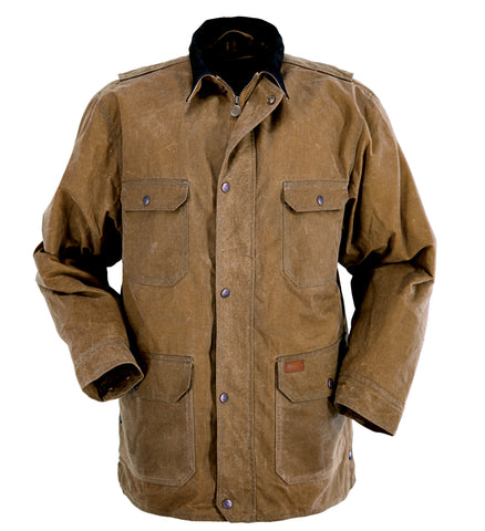 Outback Trading Co Gidley Mens Jacket Field Tan Oilskin Marshall Cloth