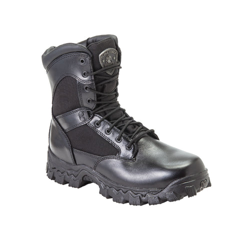 Rocky Mens Black Leather 8in AlphaForce Zipper Waterproof Duty Boots