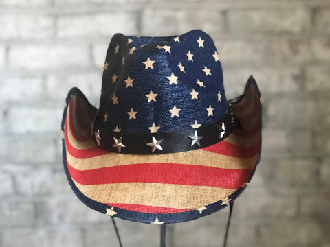 Rockmount Mens Blue/Red Straw American Flag Cowboy Hat
