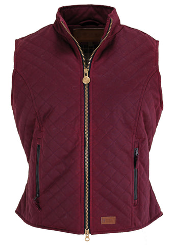 Outback Trading Co Quilted Oilskin Vest Womens Berry Cotton Blend Oilskin