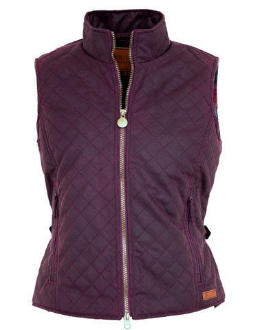 Outback Trading Co Quilted Womens Vest Purple Waxed Cotton
