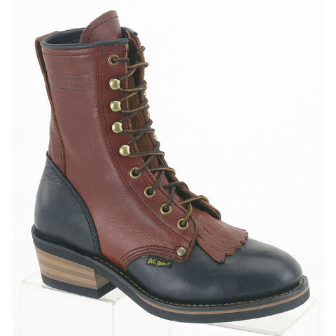 AdTec Womens Black/Dark Cherry 8in Packer Soft Toe Leather Work Boots