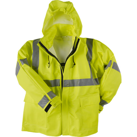 Neese Jacket with Attached Hood Lime PU on FR Cotton Flex Arc